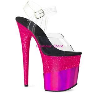 35 Sexy Glitter Tacco Dal 40 trasparente Fucsia A Sandali Club Scarpe 20 Plateau S0r5Oxw0fq