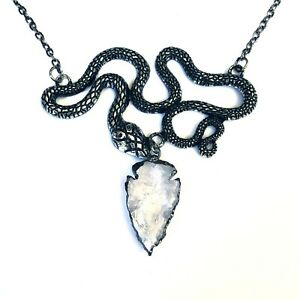 Restyle-Gothic-Occult-Horror-80s-Entwine-Snake-Quartz-Crystal-Pendant-Necklace