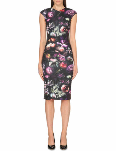 Black 6 0 Pencil Ted Party Baker Dress Bodycon Shadow Floral Raisie Midi Print 7SPfwqX1YP