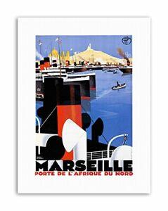 MARSEILLES FRANCE MEDITERRANEAN Vintage Advertising Travel Canvas art Prints