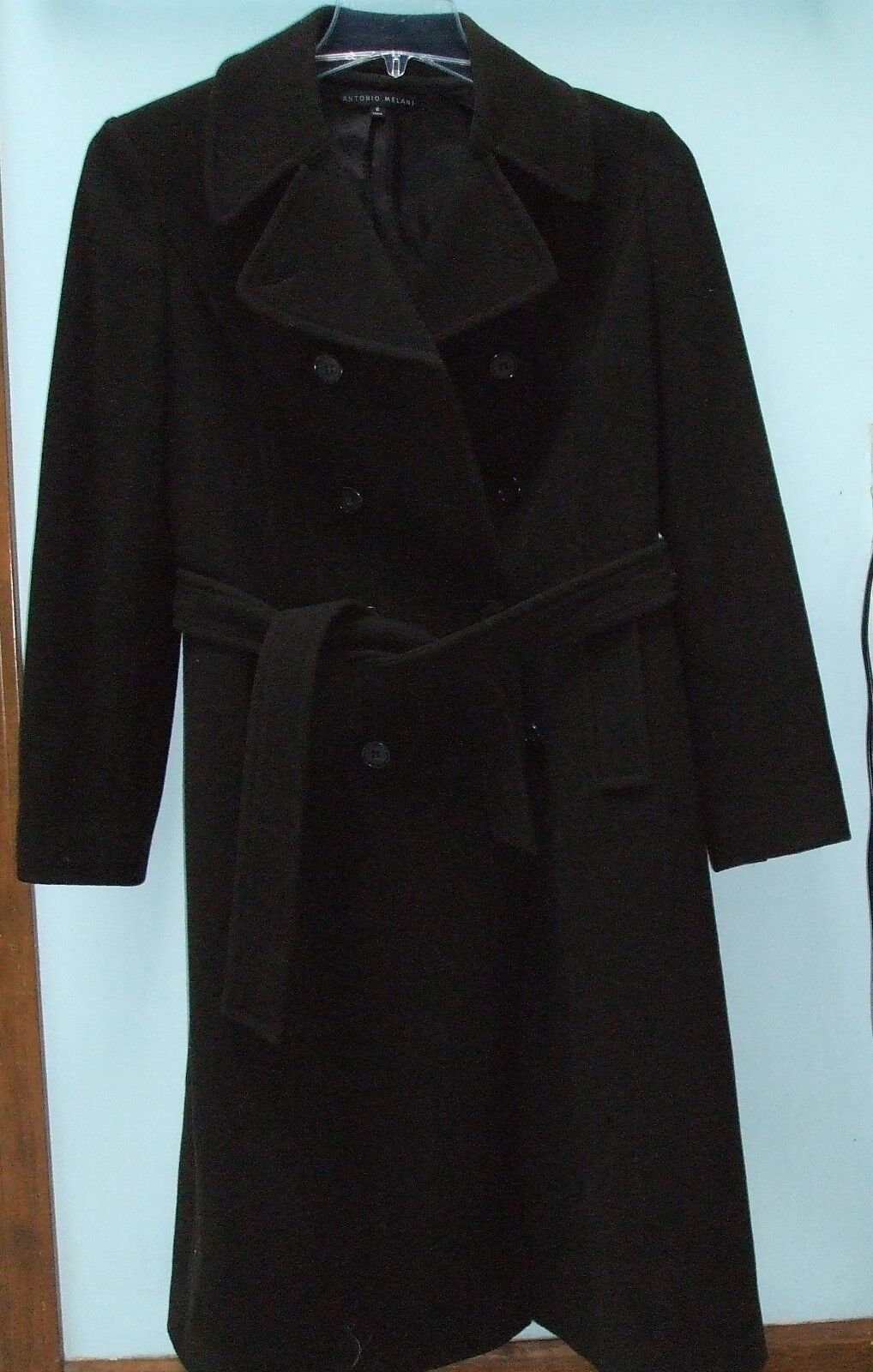 Antonio Melani Brown 100% Wool Collared Double Breasted Belted Coat Winter sz 6