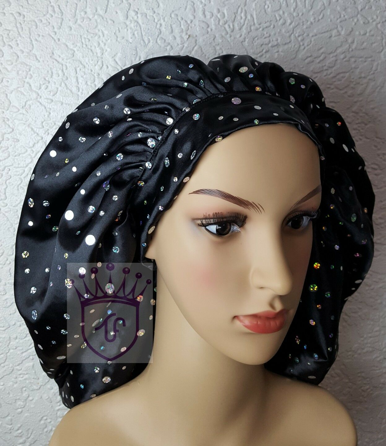Sleeping satin bonnet for Afro/natural hair and all hair type with tie back
