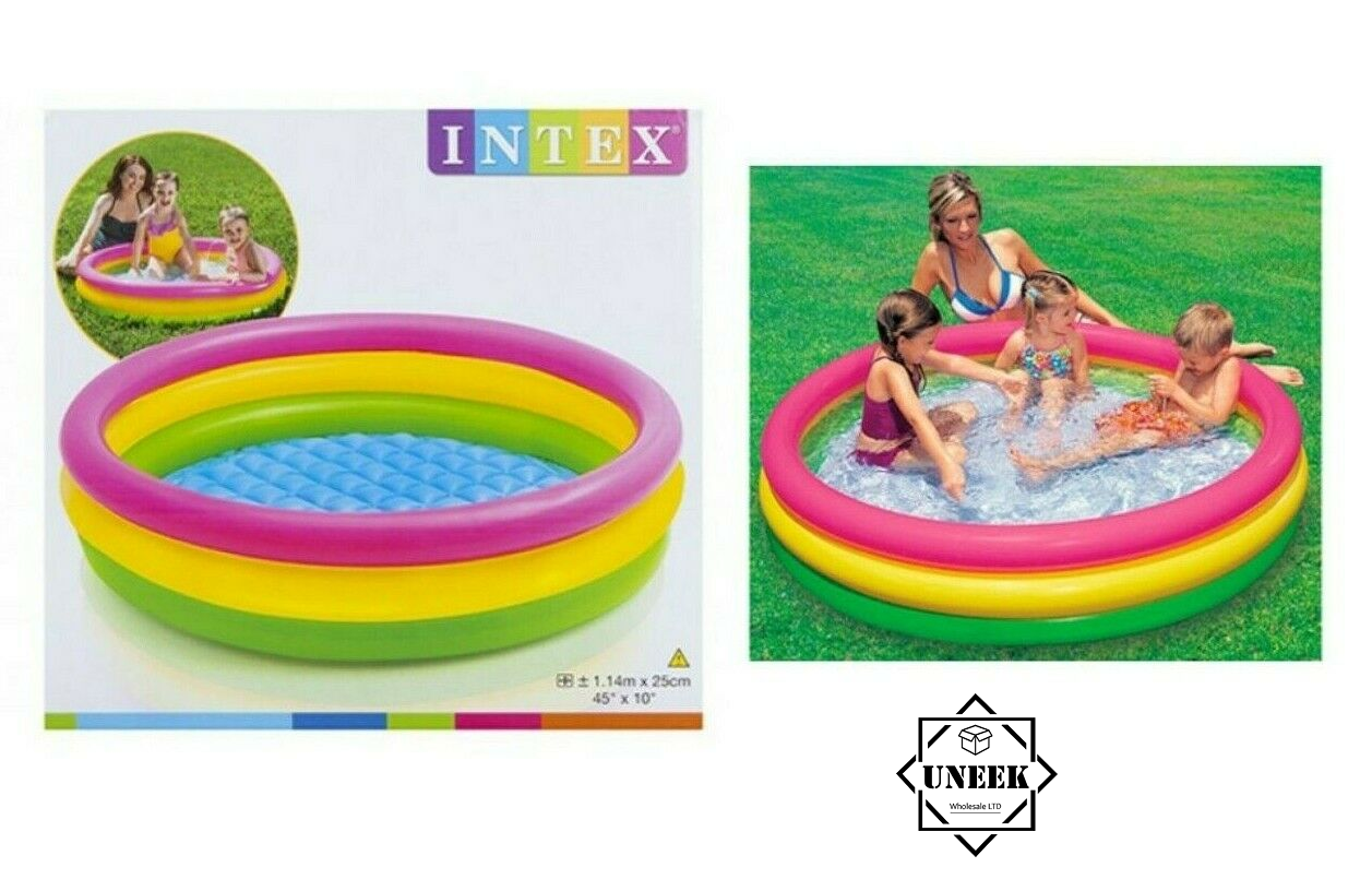 INFLATABLE 3 RING POOL OUTDOOR SWIMMING Paddling Kids Garden Play Pool Summer UK