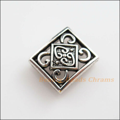 5Pcs Antiqued Silver Flower Slide Bead Charms For Wristband DIY Bracelet 13x15mm