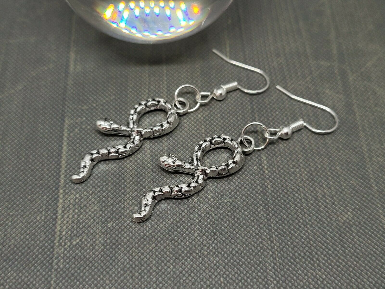 Silver Toned Snake Earrings ~ Drop Dangle ~ Gothic Witch Wicca Pagan Halloween