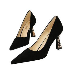 Women/'s Stilettos Mid heel shoes Pointy toe Match colour Bowtie Pump Slip on NEW