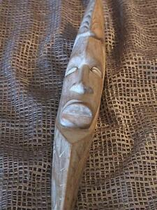 Vintage Papua New Guinea Carved Wooden Wall Hanging… with Cowries Shell Eyes...