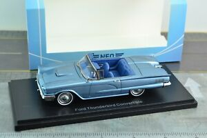 NEO-46057-1960-Ford-Thunderbird-Convertible-Blue-Car-1-43-Scale