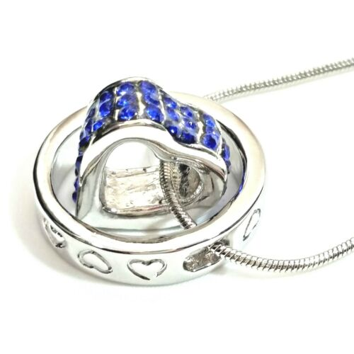 Ladies necklace heart in ring pendant diamante stones silver plated chain