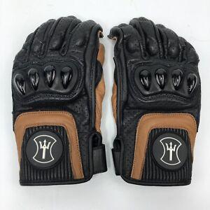 Heroic Racing Apparel Stingray Racing Gloves Sz 8 Black Brown Motorcycle Riding