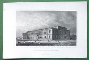 GERMANY-Munich-Old-Pinakothek-Building-Antique-Print-Engraving