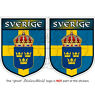 "SWEDEN Swedish Shield SVERIGE 3"" (75mm) Vinyl Bumper Stickers-Decals x2"
