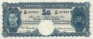 AUSTRALIA 5 POUND BANKNOTE Coombs Wilson R48 - UNC with 3 SMALL specks on circle
