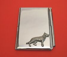 German Shepherd Dog Motif on Chrome Notebook / Card Holder & Pen Christmas Gift