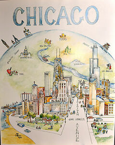 Chicago-Center-Of-The-Universe-Pat-Coffman-Huss-24-034-x-30-034-vintage-fine-art-print