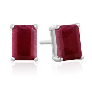 Image Is Loading Sterling Silver 3ct Emerald Cut Indian Ruby Stud