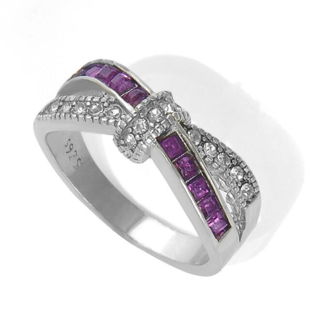 Purple Amethyst Criss Cross Ring White Gold Filled Ring Size 6-10 Rings Jewelry