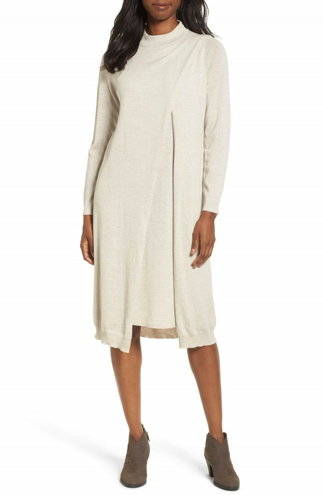 NEW Eileen Fisher Layered Wool Dress in Natural - Size XXS