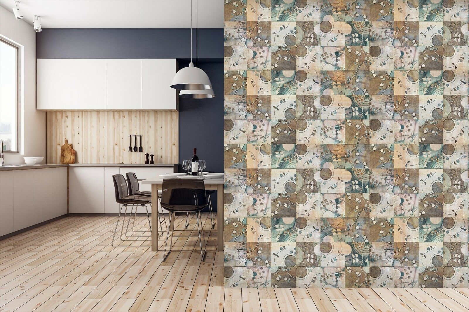 3D Different Patterns 4 Texture Tiles Marble Wall Paper Decal Wallpaper Mural AJ