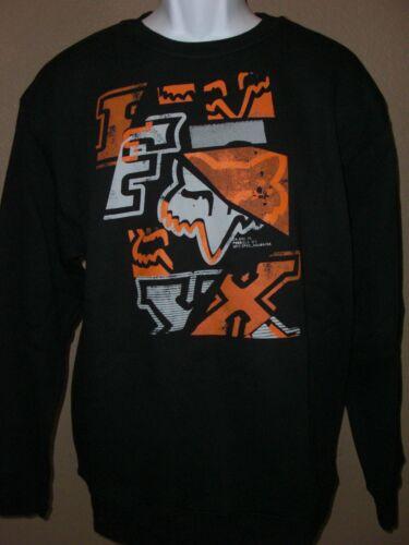 Mens Fox Racing Crew Neck Pullover Sweatshirt Black /& Orange M New
