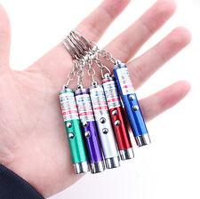 2 In1 Mini Rot Blau Laser Zeiger Stift LED Licht Haustier Katze Spielzeug Neu