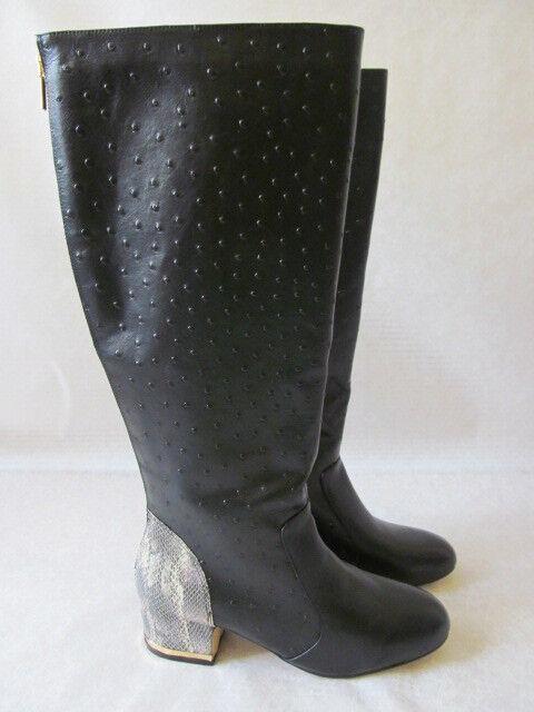 220 deesigns Negro y cuero de avestruz en en en relieve alto botas talla 11 W-Nuevo  suministro de productos de calidad