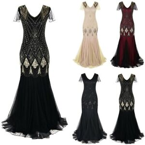 Women-039-s-Vintage-1920s-Bead-Fringe-Sequin-Lace-Party-Flapper-Cocktail-Prom-Dress