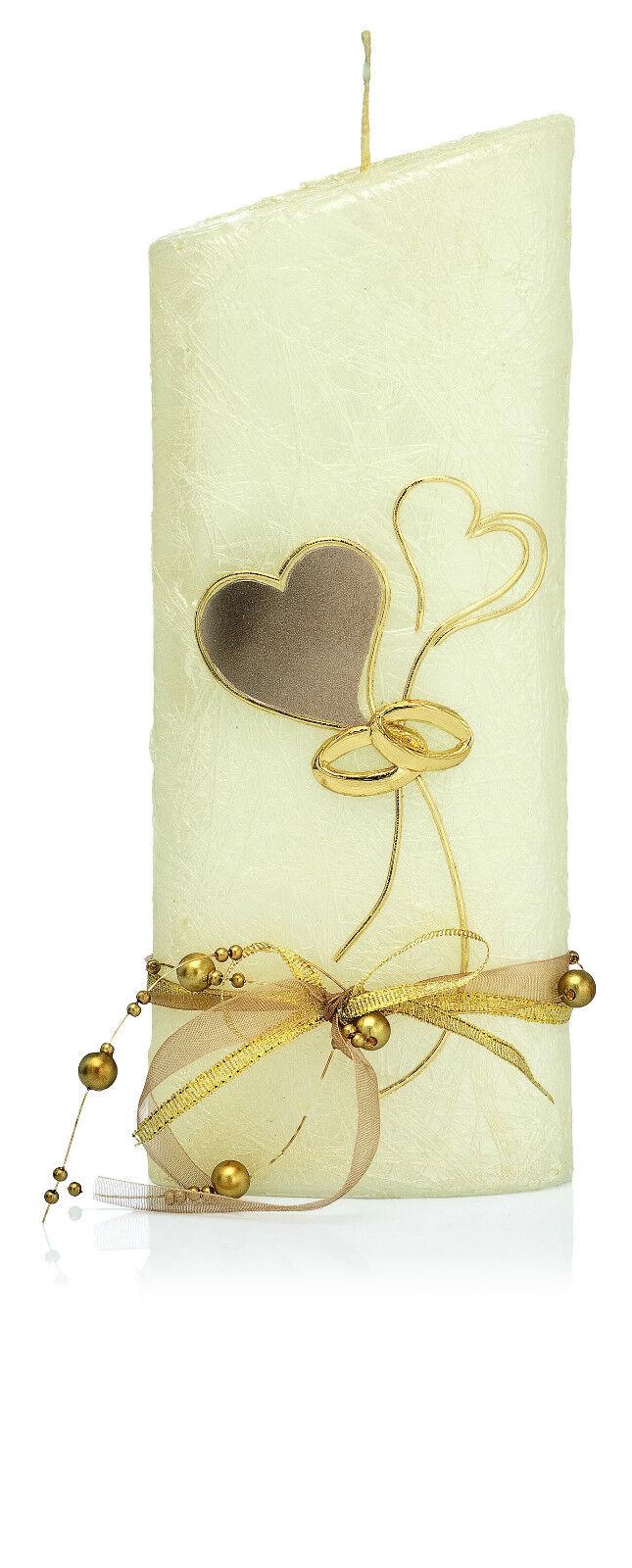 Moderne Hochzeitskerze    Ellipse  220x85 in Perlmutt Creme mit Ringen  Herzen | Großartig  | Rich-pünktliche Lieferung  a9fd8e