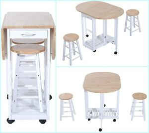 Portable Kitchen Bar Set White Wooden Breakfast Table 2