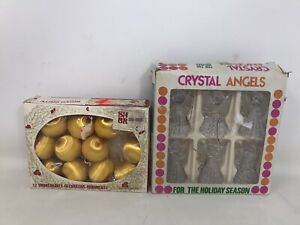 VTG-Christmas-Ornaments-Shiny-Brite-Gold-Unbreakable-Mini-Crystal-Angels-GUC