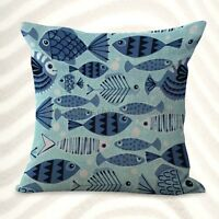 Us Seller-home Decoration Pillow Cases Ocean Sailor Fishes Cushion Cover