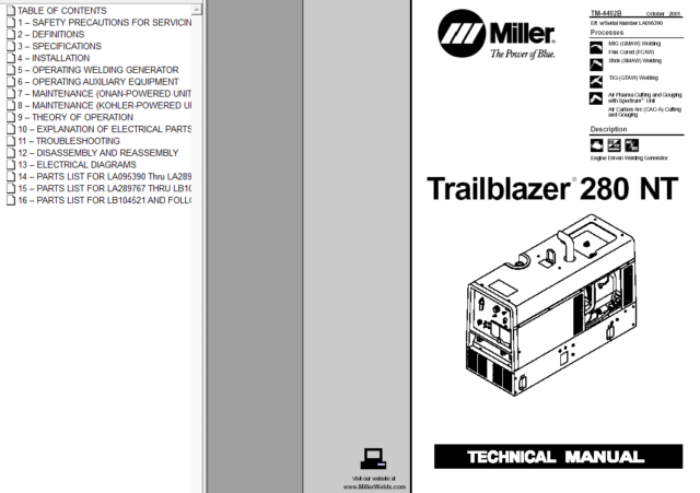 Miller Trailblazer 280 Nt Service Technical Manual