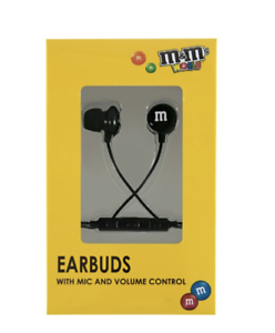 M/&M/'s World Black Wired Ear Buds with Microphone New with Box