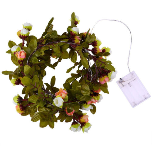 Artificial Flower Vine LED String light Real Touch Silk Flower With Green Leaves