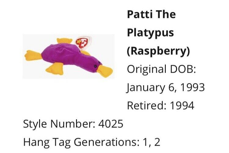 Patti The The The Platypus RETIRED Ty Beanie Babies e8f53d