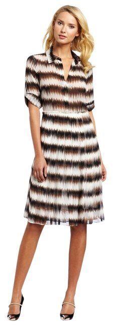 BCBG Max Azria damen Sz 6 schwarz Weiß braun Print EMIKA Long Sleeve Dress