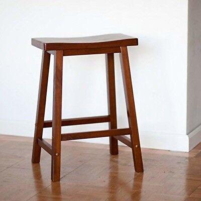 24 Wooden Walnut Kitchen Bar Stool Backless Wood Transitional Pub Furniture Ebay