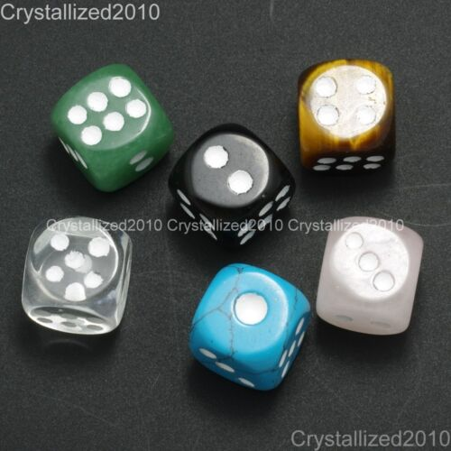 Piedra Preciosa Natural Dots Plaza Dados Bead Juego Juguetes Casino Lucky Cristal Reiki 15mm