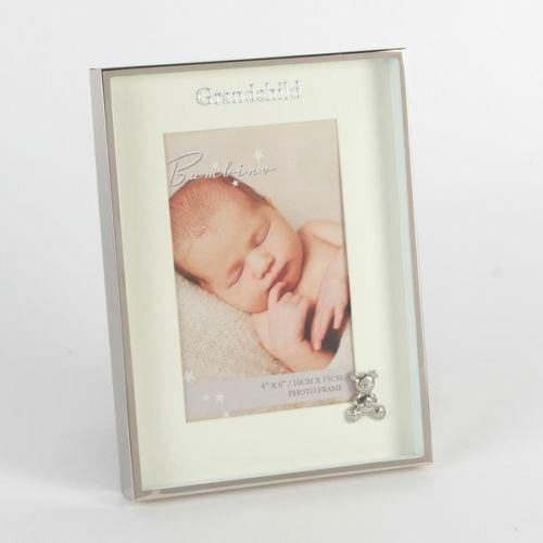 "Grandchild 4/"" x 6/"" CG1397 Bambino Silverplated Frame with Teddy"