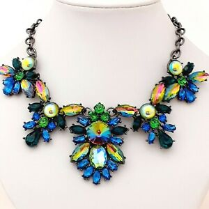 Unique-Vintage-Style-Shades-of-Blue-amp-Green-Glass-Statement-Necklace