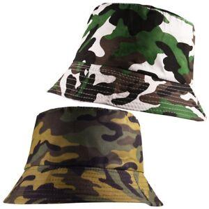 2ba2e92e65b Image is loading Unisex-Army-Camouflage-Bucket-Bush-Fisherman-Woodland-Camo-