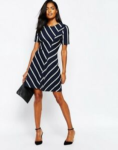 Eu Dress Uk Stripe 2 bianco Whistles Jersey 34 Us Chevron Blu 6 vwUq4x4