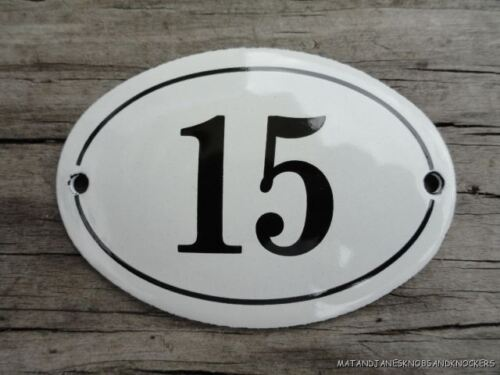 SMALL ANTIQUE STYLE ENAMEL DOOR NUMBER 15 SIGN PLAQUE HOUSE NUMBER SIGN