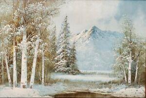 "Vtg Winter Mountain Lake Birch Tree Landscape Original Oil 18"" x 14"" by THOMAS"