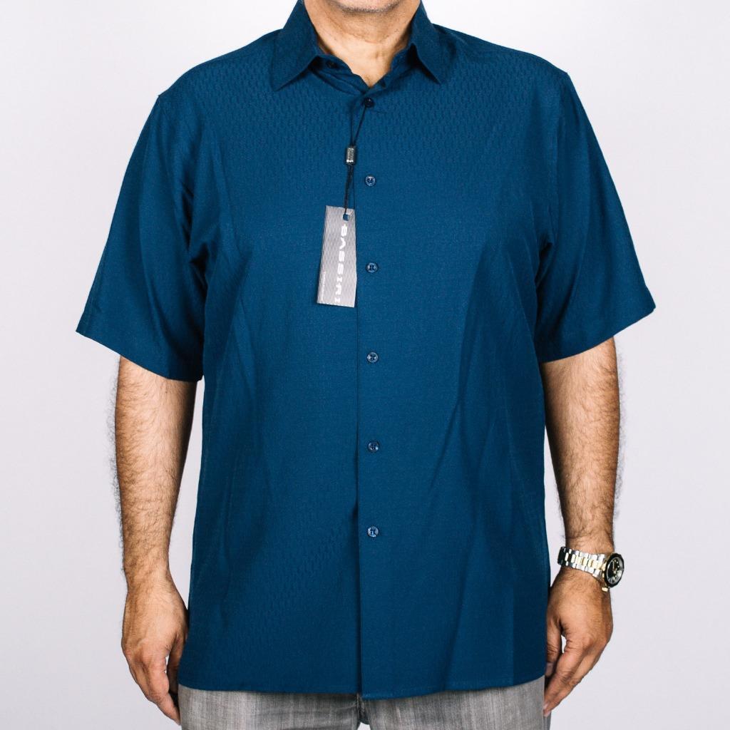 New Bassiri Men's Navy bluee Short Sleeves Self Design Fashion Casual Shirt 60251