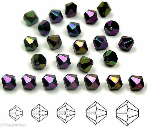 Czech MC Glass Bicone Beads Jet Purple Iris metallic crystals Rondell//Diamond