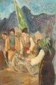 Vintage impressionist oil painting portrait rebels cannon mortar