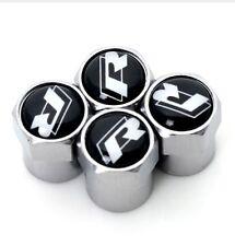 VW Silver Black Logo R Line Car Tyre Wheel Valve Dust Caps x4 Golf Polo Tiguan