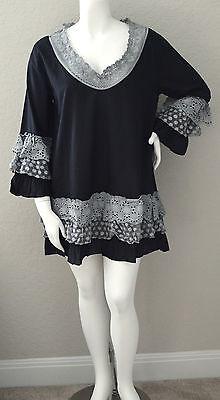 Velzera Boho Crochet Tiered Ruffle Lace Tunic Dress Black Plus 1XL 2XL 3XL New!