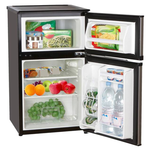Emerson 3.1 Cu Ft. Double Door Compact Refrigerator Freezer CR501E  Black/Silver